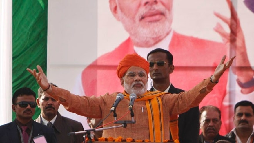 Dec. 1, 2013: India's main opposition Bharatiya Janata Party (BJP) leader Narendra Modi addresses supporters during a rally in Jammu, India.