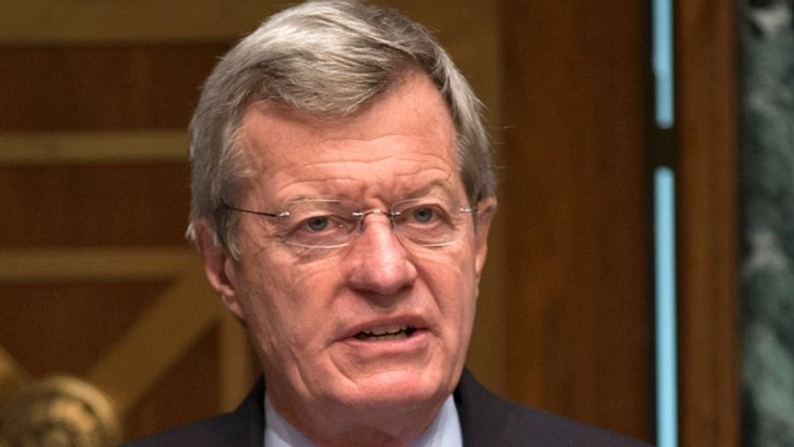 April 17, 2013 In this file photo, Senate Finance Committee Chairman Sen. Max Baucus, D-Mont. speaks on Capitol Hill in Washington.