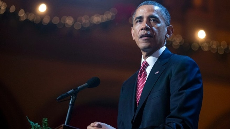 Dec. 15, 2013: President Barack Obama, speaks during the annual 2013 Christmas in Washington presentation at the National Building Museum in Washington.