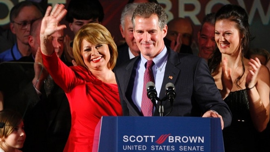 Jan. 19, 2010: Republican U.S. Senator-elect Scott Brown celebrates with his wife Gail Huff (L) and daughter Ayla (R) after defeating Democrat Martha Coakley in the U.S. Senate race to replace the late U.S. Senator Ted Kennedy at Brown's victory rally in Boston.