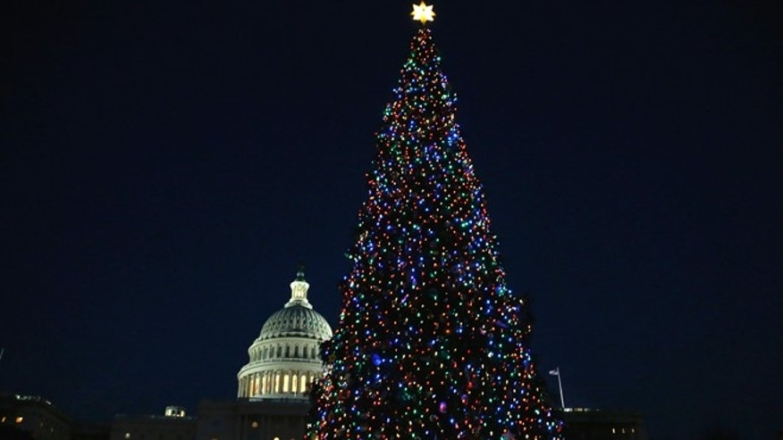 Dec. 3, 2013: The U.S. Capitol Christmas Tree is lighted in Washington.