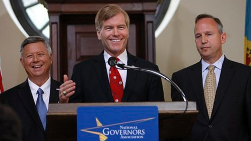 July 13, 2012: (Fr. left) Govs. Dave Heineman, R-Nebraska; Bob McDonnell, R-Virginia;  Jack Markell, D-Delaware,  at the National Governors Association meeting in Williamsburg, Va.