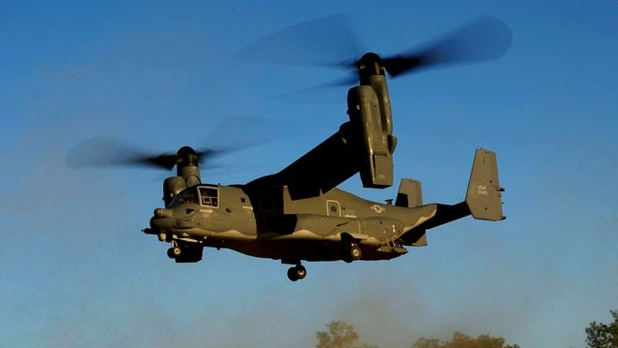 "Jan 26, 2011: In this photo released by the U.S. Air Force, a CV-22 Osprey aircraft of the 8th Special Operations Squadron (SOS) ""Black Birds"" comes in for a landing during a local training mission at Hurlburt Field, Florida, USA."