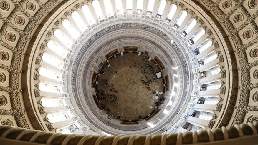 Dec. 19, 2013: A view from high above inside the Capitol Rotunda looking down, during a media tour on Capitol Hill in Washington.