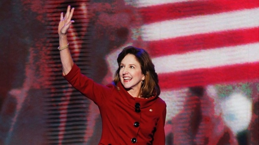FILE: Sept. 6, 2012:  North Carolina Sen. Kay Hagan at the Democratic National Convention in Charlotte, N.C.