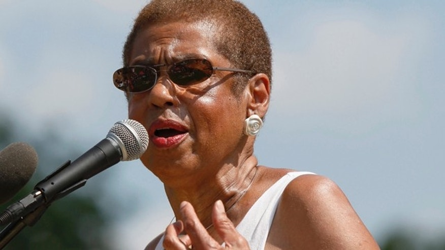 August 18, 2012: U.S. Representative Eleanor Holmes Norton (D-DC) addresses the We Are Woman rally for women's rights on the west lawn of the U.S. Capitol in Washington.