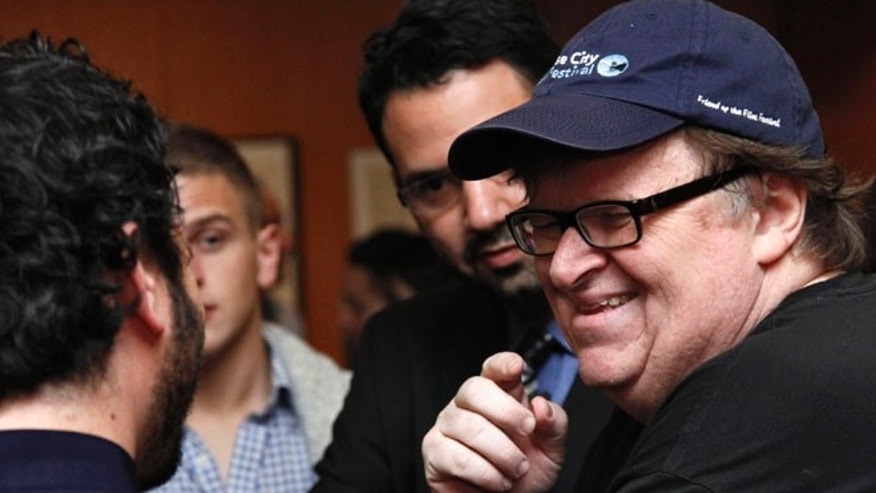Documentary filmmaker Michael Moore at the Academy of Motion Picture Arts and Sciences in Beverly Hills, California, Feb. 20, 2013.