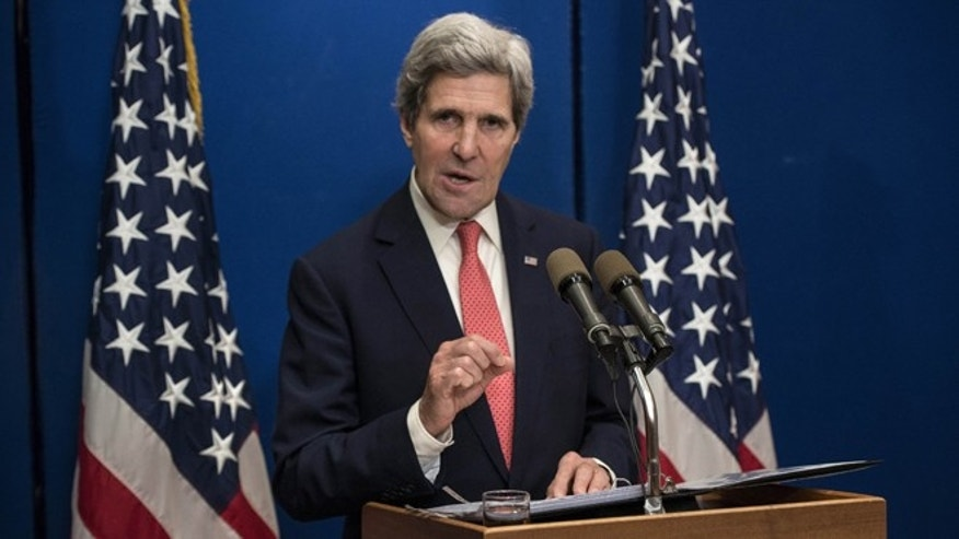 Jan. 5, 2014: Secretary of State John Kerry speaks during a press conference at the David Citadel Hotel in Jerusalem.