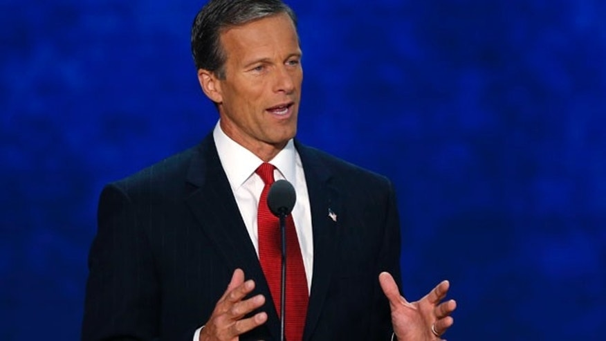 Senator John Thune addresses delegates during the third session of the Republican National Convention in Tampa, Florida.