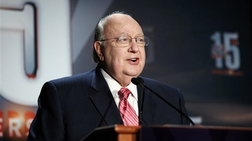 In this Sept. 2011 photo released by 2MK Studio/Fox News, Fox News chairman-CEO Roger Ailes speaks at a 15-year anniversary party held for employees at Chelsea Piers in New York.
