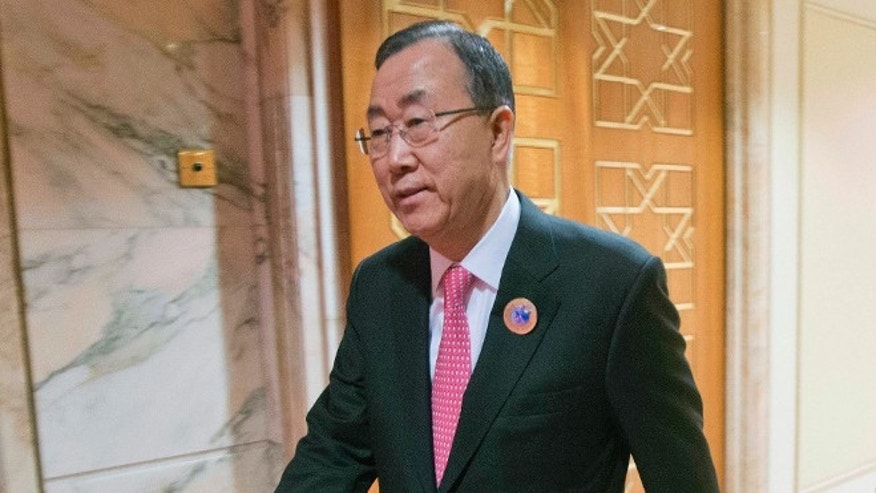 FILE: Jan. 15, 2014: United Nations Secretary General Ban Ki-moon at Bayan Palace in Kuwait City, Kuwait.