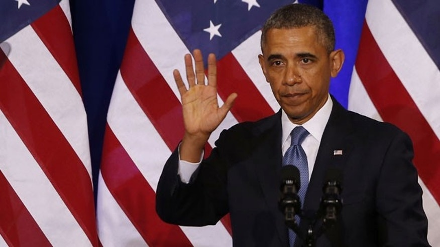January 17, 2013: President Barack Obama waves to the audience after he spoke about National Security Agency (NSA) surveillance, at the Justice Department in Washington. (AP/File)