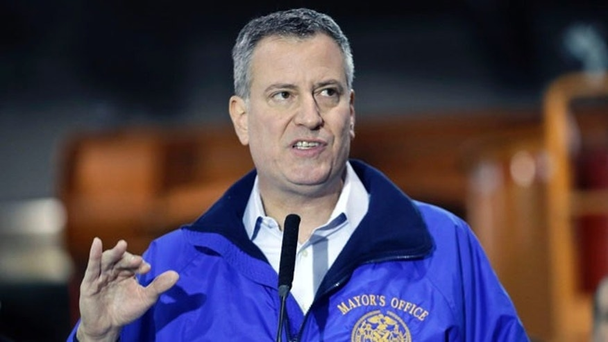 Jan. 3, 2014: New York City Mayor Bill de Blasio speaks during a news conference in Queens.