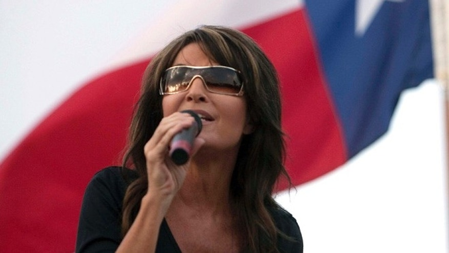 FILE: July 27, 2012: Sarah Palin speaks at a campaign rally for a Senate race in Texas.