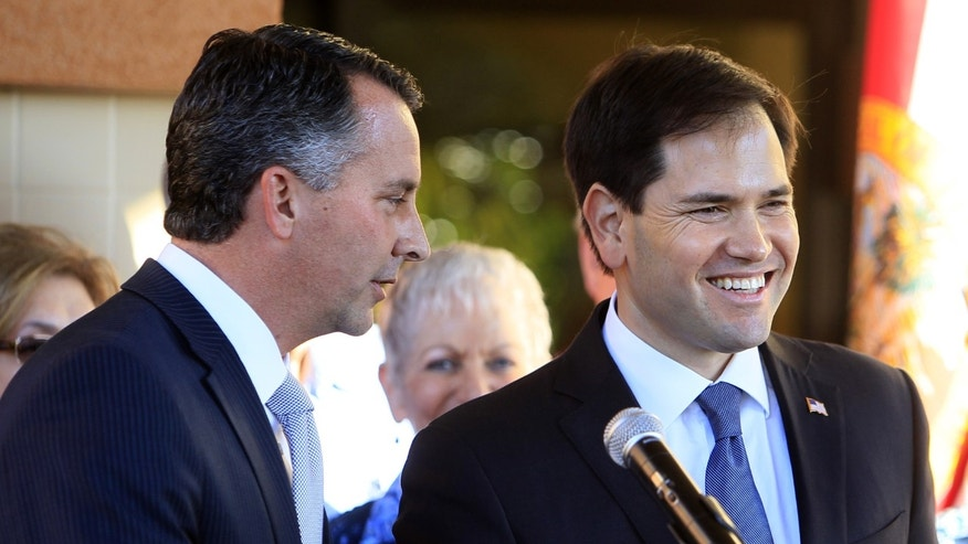 Congressional candidate David Jolly and Sen. Marco Rubio during a press conference Feb. 10, 2014.