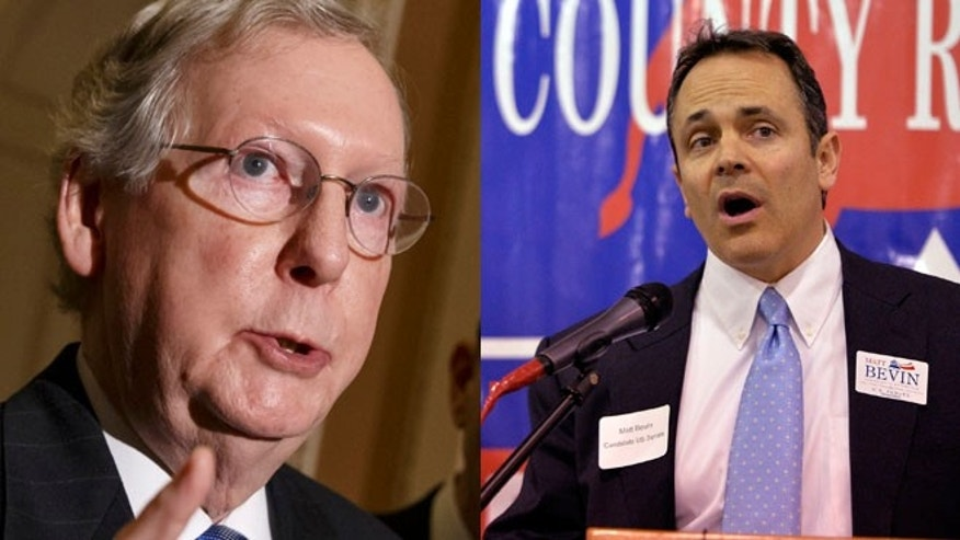 Shown here are Senate GOP Leader Mitch McConnell, left, and GOP primary challenger Matt Bevin.