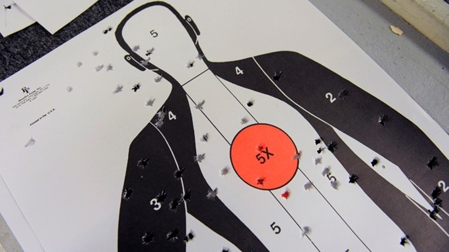 FILE: Dec. 15, 2012: A target from a commercial gun range in Sarasota, Florida.