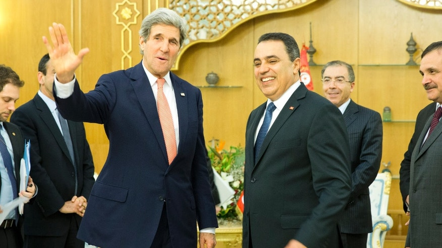 Feb. 18, 2014: Secretary of State John Kerry, left, meets with Tunisian Prime Minister Mehdi Joma'a at Dar Diafa Palace.
