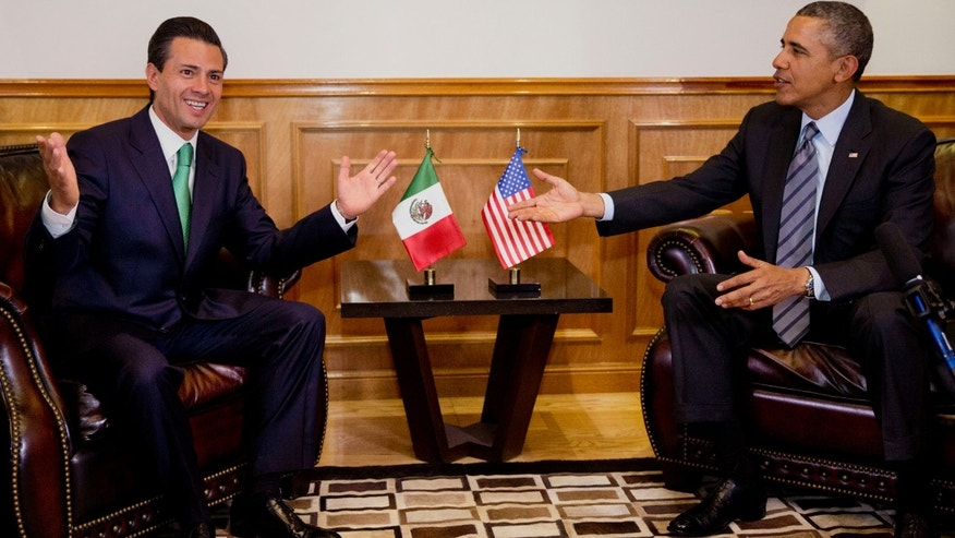 Feb. 19, 2014: President Obama meets with Mexican President Enrique Peña Nieto at the state government palace in Toluca, Mexico.