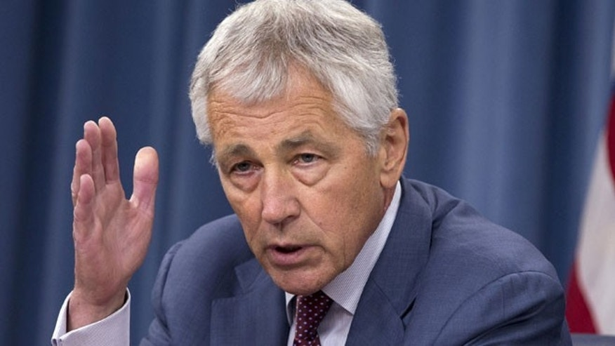 July 31, 2013: Defense Secretary Chuck Hagel speaks during a news conference at the Pentagon.