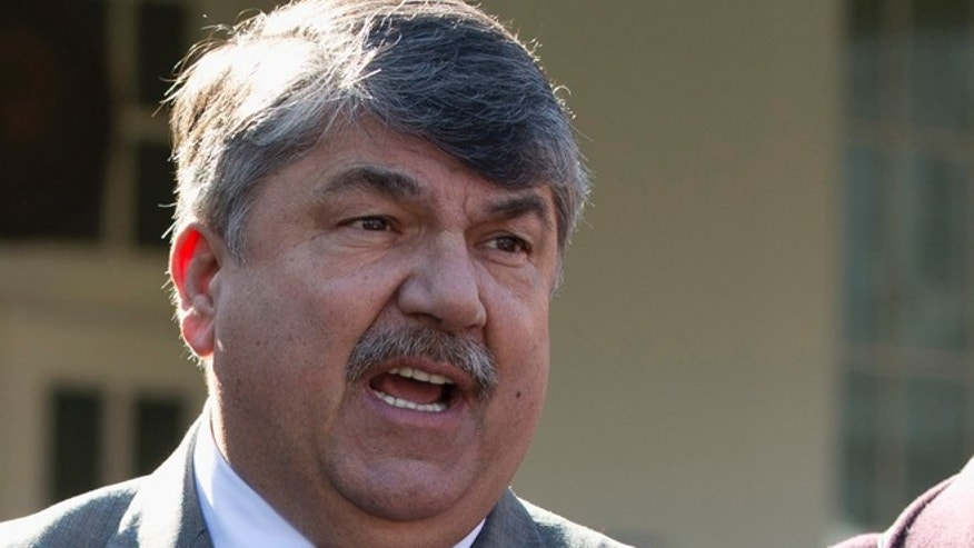 Nov. 13, 2012: AFL-CIO President Richard Trumka speaks to reporters outside the White House in Washington.