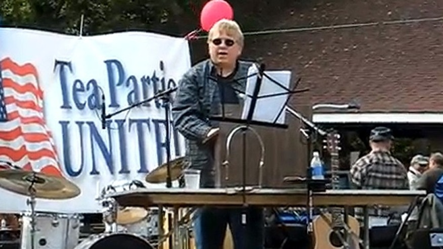 John Darash, seen here at a Tea Party rally in 2011, told FoxNews.com he's worried for his safety since being labeled a 'sovereign citizen guru' by the Anti-Defamation League last week. (YouTube.com)