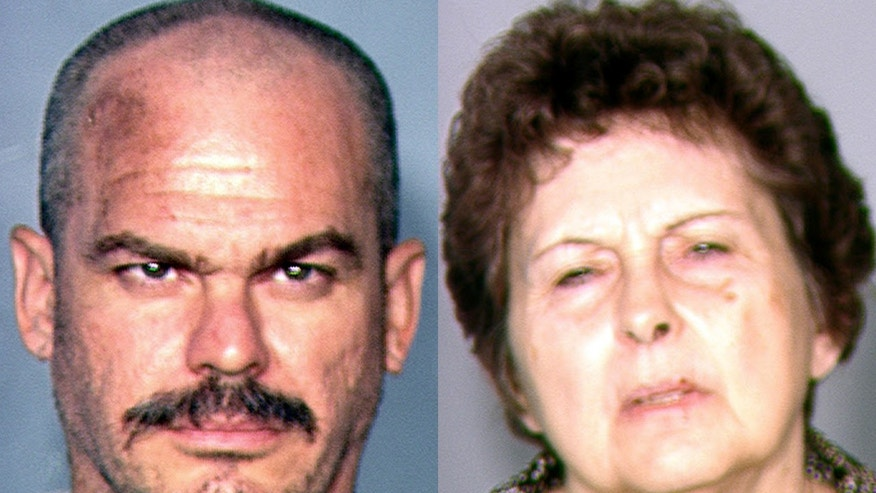 This combination of file photos provided by the Las Vegas Metropolitan Police Department on Aug. 22, 2013, shows David Allen Brutsche, left, and Devon Campbell Newman, who were arrested in Las Vegas. A Nevada judge on Dec. 9, 2013 cited the lesser charges remaining and reduced bail for the couple accused during their high-profile arrests last summer of conspiring to kidnap police officers to draw attention to an anti-government sovereign citizen philosophy. (AP/Las Vegas Metropolitan Police Department, File)