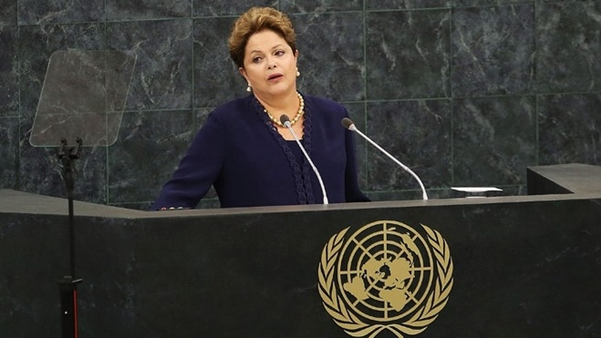 NEW YORK, NY - SEPTEMBER 24: The Brazilian president Dilma Rousseff speaks at the United Nations (U.N.) General Assembly on September 24, 2013 in New York City. This year's U.N. diplomacy session, the 68th General Assembly, is likely to be dominated by Syria's civil war and Iran's suspected nuclear ambitions.  (Photo by Spencer Platt/Getty Images)