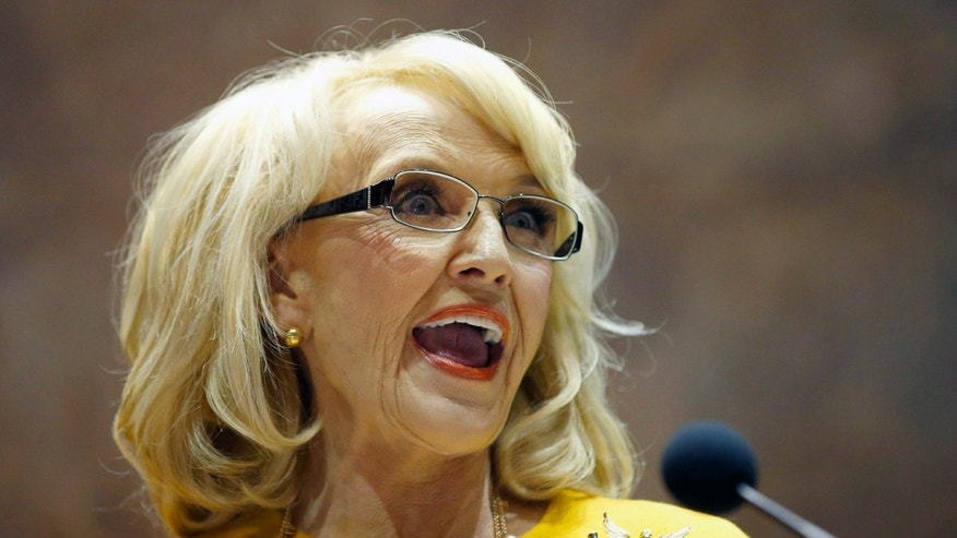 Jan. 13, 2014: Arizona Gov. Jan Brewer speaks during her State of the State address at the Arizona Capitol in Phoenix.