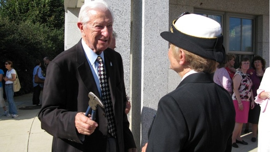 Oct. 3, 2013: Rep. Ralph Hall (R-TX) is pictured here carrying wire cutters at the WWII memorial in Washington D.C.