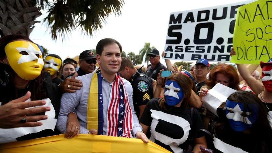 U.S. Senator Marco Rubio with supporters of the  Venezuela opposition on February 28, 2014 in Doral, Florida.