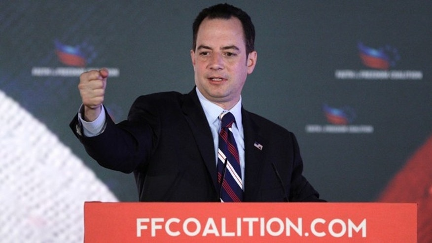 "June 15, 2013: Republican National Committee Chairman Reince Priebus addresses the Faith and Freedom Coalition ""Road to Majority"" conference in Washington."