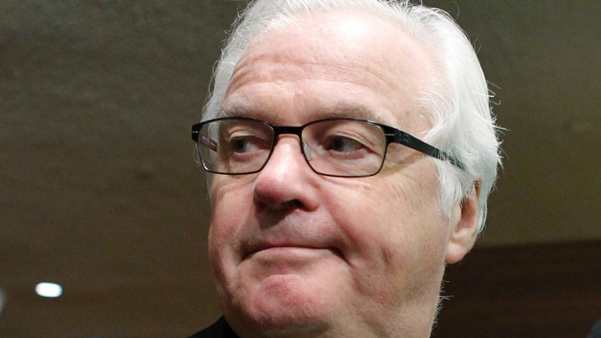 March 1, 2014: Russian Ambassador to the United Nations Vitaly Churkin leaves at the end of a Security Council meeting about the crisis in Ukraine.