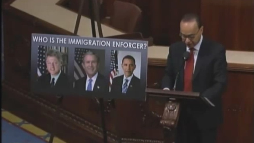 Rep. Luis Gutierrez assails President Obama's record deportation rates in a floor speech before the House of Representatives.