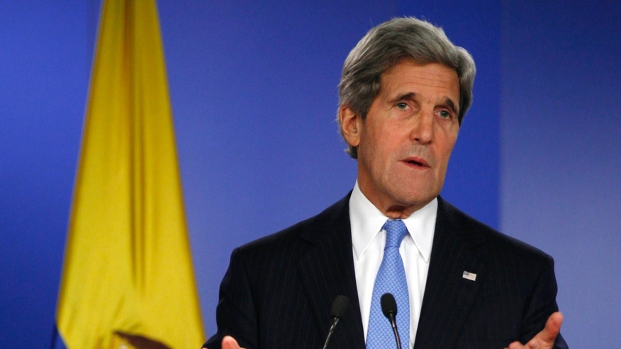 FILE: Aug. 12, 2013: Secretary of State John Kerry in Bogota, Columbia.