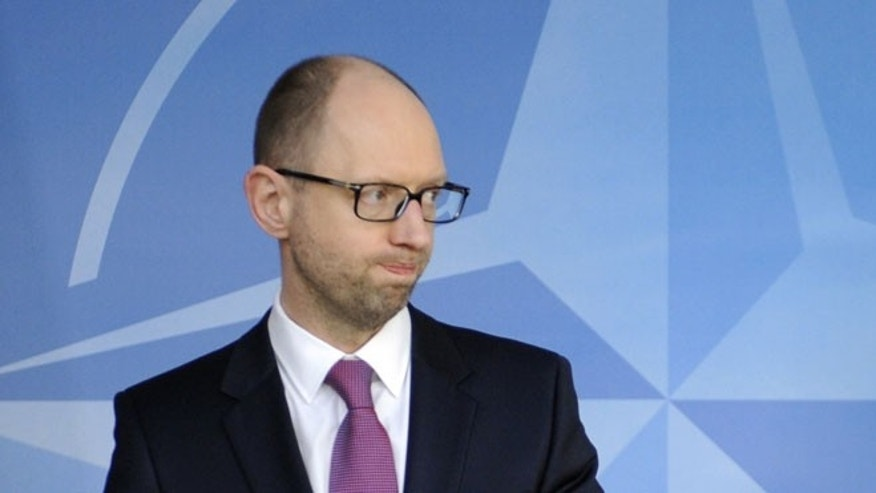 March 6, 2014: Ukraine Prime Minister Arseniy Yatsenyuk at a the NATO aliance headquarters in Brussels.