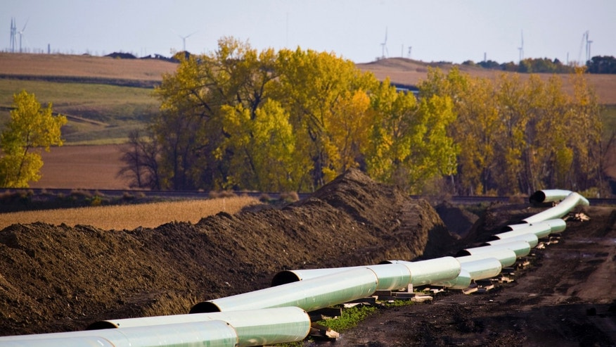 FILE: Undated: The Keystone Oil Pipeline under construction in North Dakota in this undated photograph released on the Obama administration on January 18, 2012.