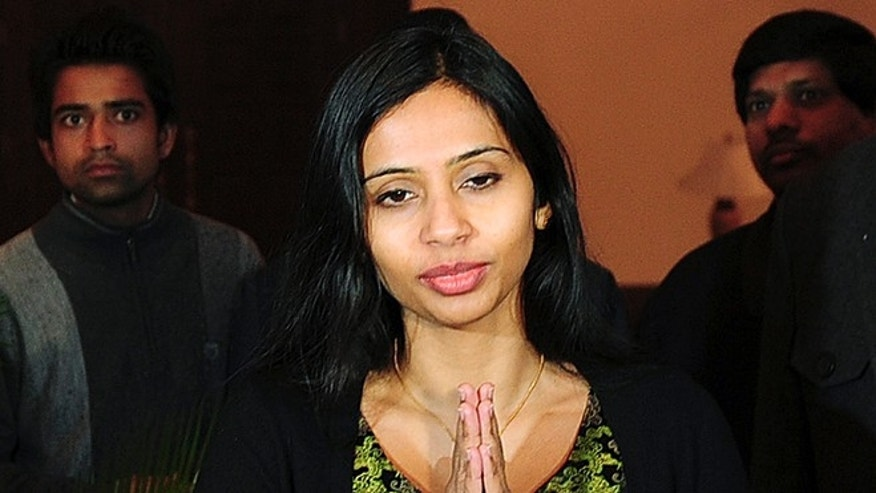 "Jan. 10, 2014: Indian diplomat Devyani Khobragade gives the ""namaste"" gesture of greeting upon her arrival at Maharashtra Sadan state guesthouse in New Delhi."