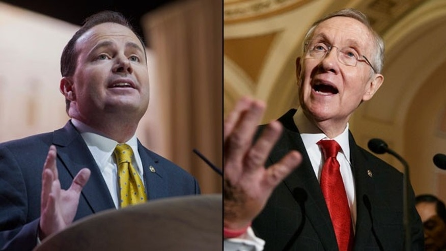 Shown here are Sen. Mike Lee, R-Utah, left, and Sen. Harry Reid, D-Nev.