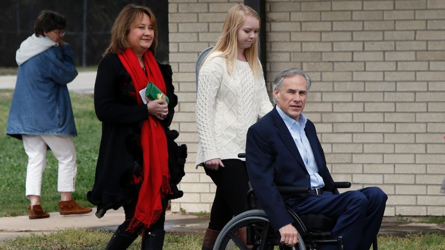 Republican candidate for governor, Texas Attorney General Greg Abbott and his wife Cecilia.