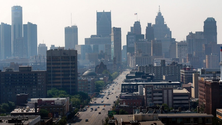 The Detroit skyline is seen looking south down Woodward Avenue on Friday.
