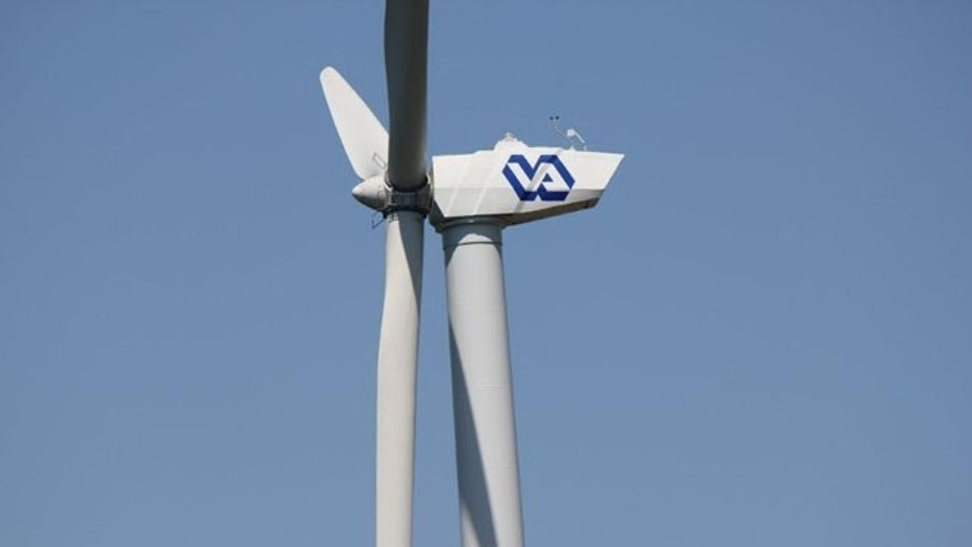 Shown here is a Department of Veterans Affairs $2.3 million wind turbine in St. Cloud, Minn.