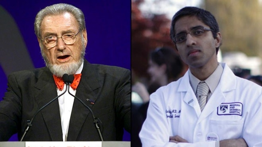 Shown here are former U.S. Surgeon General C. Everett Koop, left, and surgeon general nominee Vivek Murthy.