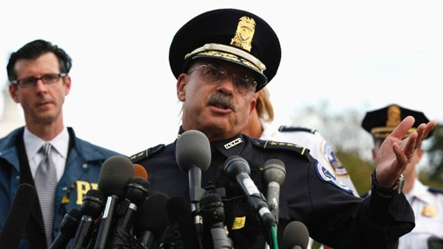 Oct. 3, 2013: U.S. Capitol Police Chief Kim Dine speaks during a news conference in Washington.