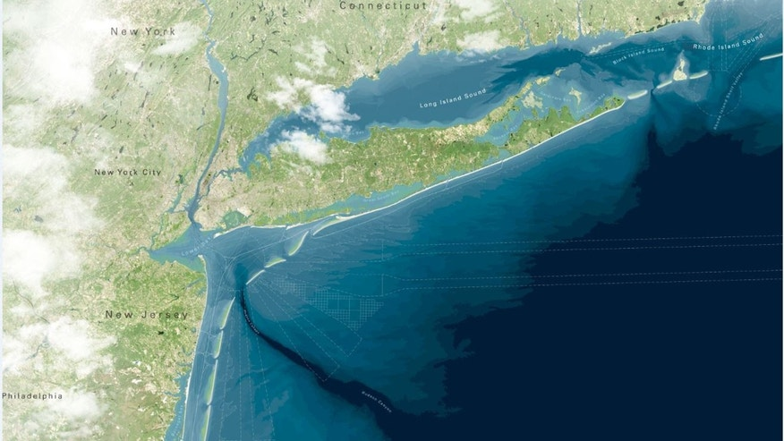 This artist rendering provided by WXY/West 8/Stevens Institute of Technology shows a proposed project to create a string of artificial barrier islands off the coast of New Jersey and New York to protect the shoreline from storm surges like the ones that caused billions of dollars worth of damage during Superstorm Sandy.