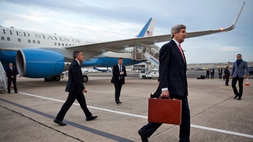 March 29, 2014: Secretary of State John Kerry arrives in Paris, to meet with Russian Foreign Minister Sergey Lavrov about the situation in Ukraine.