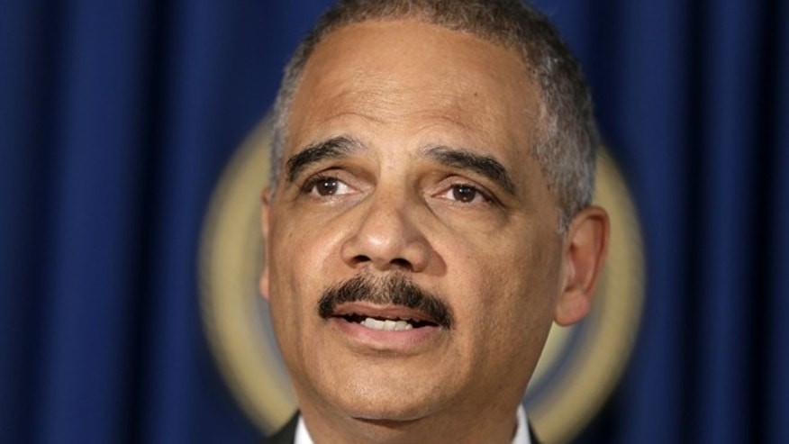 Apr. 1, 2014: U.S. Attorney General Eric Holder speaks during a news conference in New York.