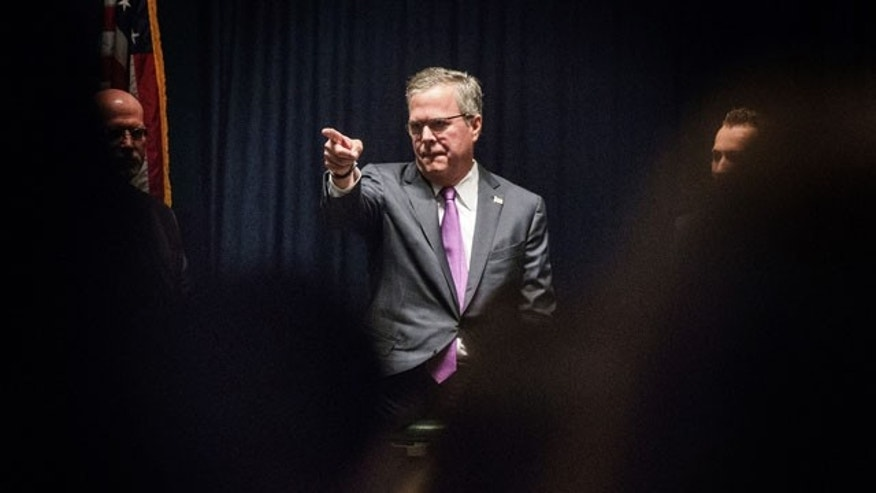 March 27, 2014: Former  Florida Gov. Jeb Bush, a potential GOP presidential candidate in 2016, during a education panel discussion at Advanced Technologies Academy, in Las Vegas.   Bush is the chairman of the Foundation for Excellence in Education, which promotes expanding charter schools and vouchers to allow students to attend private schools.  (AP Photo/Las Vegas Review-Journal, Jeff Scheid)