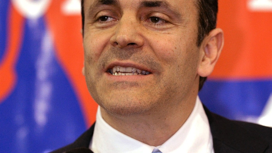 Feb. 7, 2014: Kentucky Republican Senate candidate Matt Bevin speaking in Fisherville, Ky.