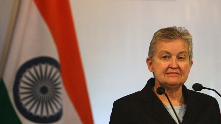 FILE - In this July 10, 2012 file photograph, U.S. Ambassador to India Nancy Powell speaks at an event,  in New Delhi, India. (AP Photo/Tsering Topgyal, File)
